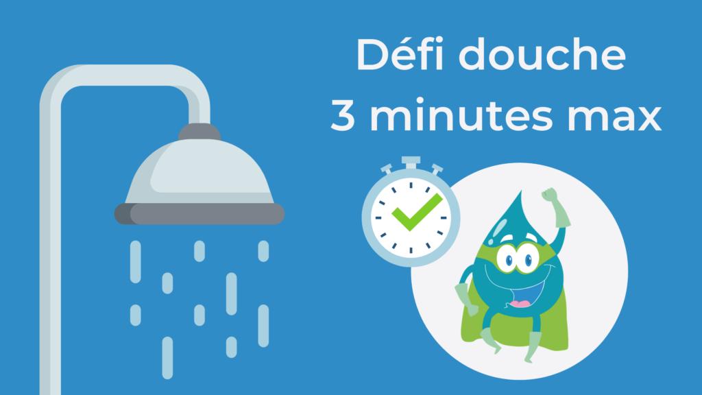 Préservation de l'eau : 3 minutes max sous la douche