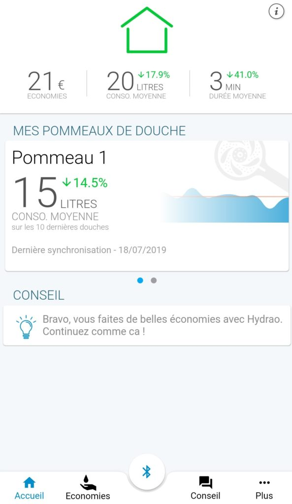 Page d'accueil application HYDRAO