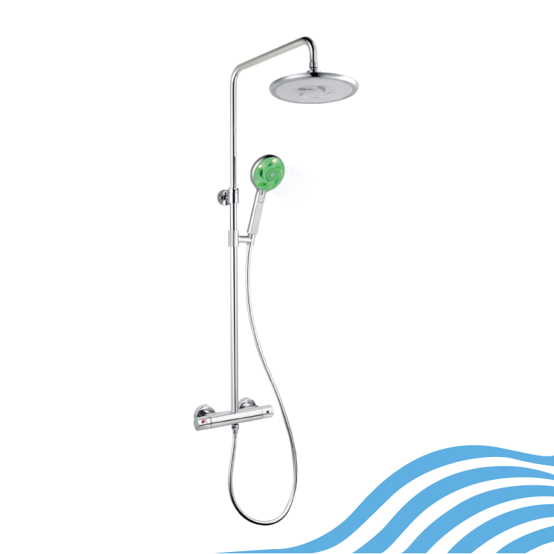 HYDRAO Thermostatic twin shower - chrome